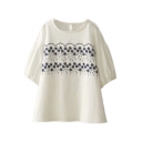 Floral Embroidered Round Neck Short Sleeve Linen Tee