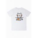 Cute Cat Food Printed Round Neck Short Sleeve Unisex Tee