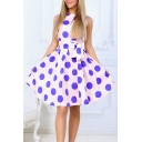 Polka Dot Printed Round Neck Sleeveless Tied Waist Midi A-Line Dress