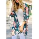 Floral Printed Half Sleeve Tunic Chiffon Kimono