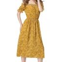 Floral Printed Off The Shoulder Short Sleeve Midi A-Line Dress