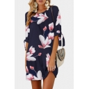 Half Sleeve Floral Printed Round Neck Mini A-Line Dress