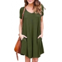 V Neck Short Sleeve Plain Leisure Loose Mini A-Line Dress