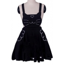 Lovely Cat Embroidered Hollow Out Detail Mini Overall Dress