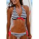 Halter Color Block Striped Printed Sexy Bikini