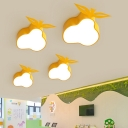 Acrylic Flush Light with Pear Shade Modernism Yellow 1 Head LED Lighting Fixture for Kids Room