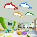 Eye Protection Acrylic Flushmount with Dolphin LED Ceiling Light for Children Room in Blue/Green/Yellow/Red