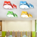 Cute Whale LED Flush Light Cartoon Modern Kindergarten Bedroom Acrylic Lighting Fixture