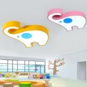 Decorative Pink/Yellow Elephant Flushmount Modern Acrylic LED Ceiling Lamp for Girls Boys Room