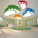 Unique Footprint Flush Light Fixture Cartoon Style Amusement Park Acrylic LED Ceiling Fixture