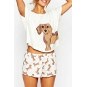 Cute Allover Dachshund Puppy Dog Printed Tee Wide Legs Shorts Co-ords