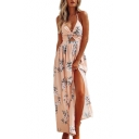 Halter Sleeveless Hollow Out Front Floral Printed Split Front Maxi Cami Dress