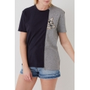Color Block Cat Embroidered Round Neck Short Sleeve Tee