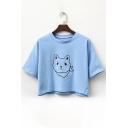 Cat Embroidered Leisure Round Neck Short Sleeve Crop Tee