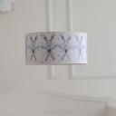 Paper Drum Shade Pendant Light with Rabbit Design Children Bedroom 1 Lights Lighting Fixture in White