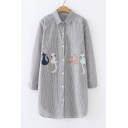 Cat Embroidered Lapel Collar Long Sleeve Striped Printed Buttons Down Tunic Shirt