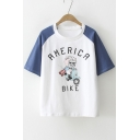 Color Block Cat AMERICA Letter Printed Round Neck Short Sleeve Tee