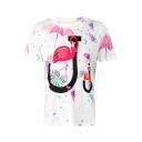 J Letter Flamingo Umbrella Printed Round Neck Short Sleeve Tee