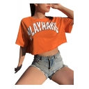 PLAY HARD Letter Printed Round Neck Short Sleeve Crop Tee