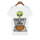 Alien Pizza Printed Round Neck Short Sleeve Tee