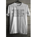 BIRTHPLACE Letter Printed Round Neck Short Sleeve Tee