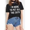 I'M HERE Letter Printed Round Neck Short Sleeve Tee