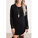 Lace Insert Cuff Round Neck Long Sleeve Slim Mini Pencil Dress