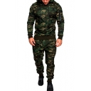 Camouflage Printed Long Sleeve Hoodie with Drawstring Waist Pants Co-ords