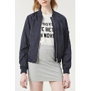 Chic Basic Plain Stand Up Collar Long Sleeve Zip Up Baseball Jacket