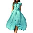 Vintage Lapel Collar Buttons Down Short Sleeve Plain Maxi A-Line Dress