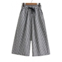 Plaid Printed Drawstring Waist Loose Wide Leg Pants