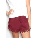 Drawstring Waist Lace Insert Leisure Loose Shorts