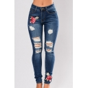 Ripped Cut Out Detail Floral Embroidered Zipper Fly Jeans