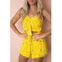 Floral Printed Hollow Out Tied Front Spaghetti Straps Sleeveless Romper