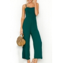 Plain Spaghetti Straps Sleeveless Wide Leg Jumpsuit