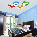 Novelty Letterine LOVE LED Flushmount Modern Fashion Children Room Acrylic Ceiling Fixture