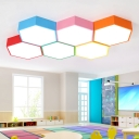 Hexagon 1 Head LED Flushmount Colorful Simple Amusement Park Office Acrylic LED Ceiling Lamp