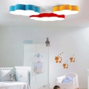 Flower LED Flush Light Fixture Simple Kindergarten Acrylic Ceiling Lamp in Blue/Yellow/Red