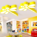 Dragonfly Ceiling Flush Mount Animals&Insects Kindergarten Acrylic LED Flush Light in Yellow