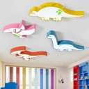 Acrylic Dinosaur LED Flush Light Cartoon Modern Kindergarten Classroom LED Ceiling Lamp in White