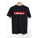 LATINAS Letter Printed Round Neck Short Sleeve Tee