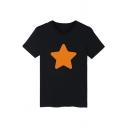 Star Printed Round Neck Short Sleeve Tee
