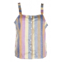 Color Block Striped Printed Straps Sleeveless Buttons Down Cami