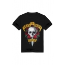 Letter Floral Skull Printed Round Neck Short Sleeve Tee