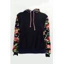 Color Block Floral Printed Leisure Long Sleeve Hoodie