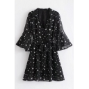 V Neck 3/4 Length Sleeve Star Printed Bow Tied Waist Mini A-Line Dress
