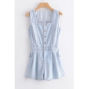 Square Neck Sleeveless Buttons Front Plain Loose Denim Romper
