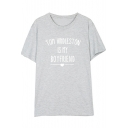 TOM Letter Heart Printed Round Neck Short Sleeve Tee