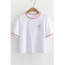Lovely Rabbit Printed Contrast Striped Trim Round Neck Short Sleeve Tee