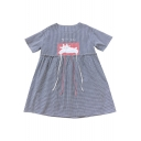 Lovely Animal Applique Japanese Printed Round Neck Short Sleeve Plaid Mini Smock Dress